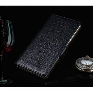 Кожаный чехол портмоне подставка (премиум нат. кожа крокодила) с крепежной застежкой для ASUS ZenFone 4 Max ZC520KL  Черный