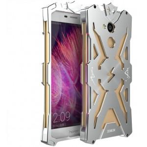 Цельнометаллический противоударный чехол из авиационного алюминия на винтах с мягкой внутренней защитной прослойкой для гаджета с прямым доступом к разъемам для Huawei Honor 6C Pro