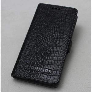 Кожаный чехол горизонтальная книжка подставка текстура Крокодил с крепежной застежкой для Philips W6610 Xenium