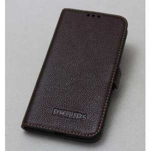 Кожаный чехол горизонтальная книжка подставка с крепежной застежкой для Philips W6610 Xenium
