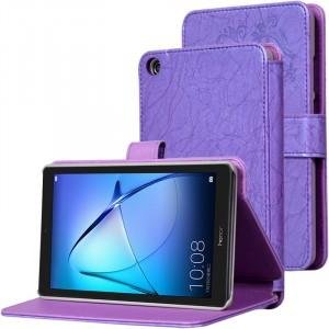 Чехол книжка подставка текстура Узоры на непрозрачной поликарбонатной основе с магнитной защелкой для Huawei MediaPad T3 7 Фиолетовый