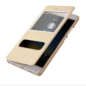 Чехол горизонтальная книжка подставка текстура Золото на пластиковой основе с окном вызова и свайпом для Huawei P8 Lite