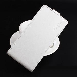 Чехол вертикальная книжка на силиконовой основе на магнитной защелке для Alcatel Idol 5  Белый