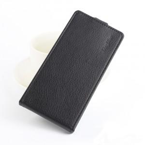 Чехол вертикальная книжка на силиконовой основе на магнитной защелке для Alcatel Idol 5  Черный