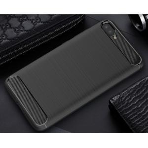 Силиконовый матовый непрозрачный чехол с нескользящими гранями и текстурным покрытием Металлик для Asus ZenFone 4 Max  Черный