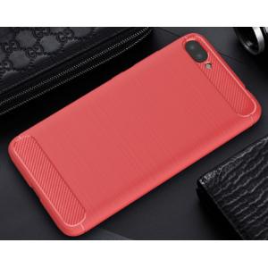 Силиконовый матовый непрозрачный чехол с нескользящими гранями и текстурным покрытием Металлик для Asus ZenFone 4 Max  Красный