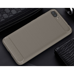 Силиконовый матовый непрозрачный чехол с нескользящими гранями и текстурным покрытием Металлик для Asus ZenFone 4 Max  Серый