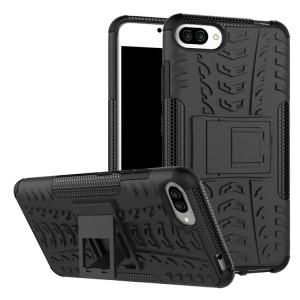 Двухкомпонентный силиконовый матовый непрозрачный чехол с нескользящими гранями, поликарбонатными бампером и крышкой и встроенной ножкой-подставкой для Asus ZenFone 4 Max  Черный