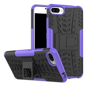 Двухкомпонентный силиконовый матовый непрозрачный чехол с нескользящими гранями, поликарбонатными бампером и крышкой и встроенной ножкой-подставкой для Asus ZenFone 4 Max  Фиолетовый