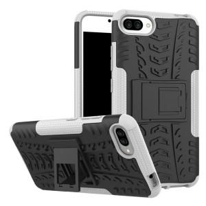 Двухкомпонентный силиконовый матовый непрозрачный чехол с нескользящими гранями, поликарбонатными бампером и крышкой и встроенной ножкой-подставкой для Asus ZenFone 4 Max  Белый