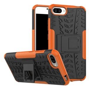Двухкомпонентный силиконовый матовый непрозрачный чехол с нескользящими гранями, поликарбонатными бампером и крышкой и встроенной ножкой-подставкой для Asus ZenFone 4 Max  Оранжевый