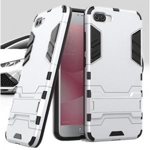 Противоударный двухкомпонентный силиконовый матовый непрозрачный чехол с поликарбонатными вставками экстрим защиты с встроенной ножкой-подставкой для Asus ZenFone 4 Max Белый