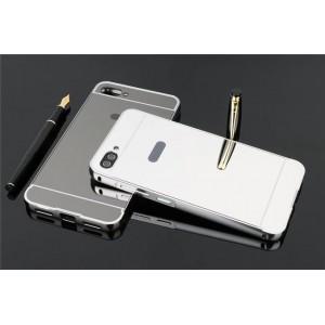 Двухкомпонентный чехол c металлическим бампером с поликарбонатной накладкой и зеркальным покрытием для Asus ZenFone 4 Max  Белый