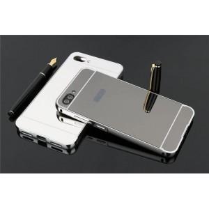 Двухкомпонентный чехол c металлическим бампером с поликарбонатной накладкой и зеркальным покрытием для Asus ZenFone 4 Max  Черный