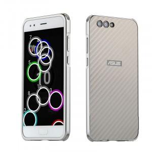 Двухкомпонентный чехол c металлическим бампером с поликарбонатной накладкой и текстурным покрытием Карбин для Asus ZenFone 4 Max  Белый