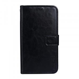 Глянцевый чехол портмоне подставка на силиконовой основе с отсеком для карт на магнитной защелке для ASUS ZenFone 4 Max ZC520KL  Черный