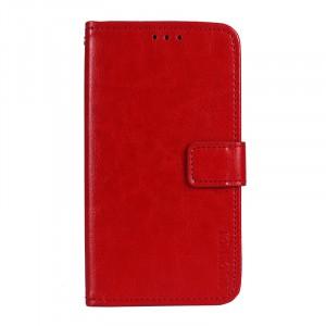Глянцевый чехол портмоне подставка на силиконовой основе с отсеком для карт на магнитной защелке для ASUS ZenFone 4 Max ZC520KL  Красный