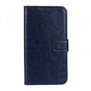 Глянцевый чехол портмоне подставка на силиконовой основе с отсеком для карт на магнитной защелке для ASUS ZenFone 4 Max ZC520KL  Синий