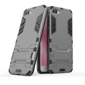 Противоударный двухкомпонентный силиконовый матовый непрозрачный чехол с поликарбонатными вставками экстрим защиты с встроенной ножкой-подставкой для ASUS ZenFone 4 Max ZC520KL  Серый