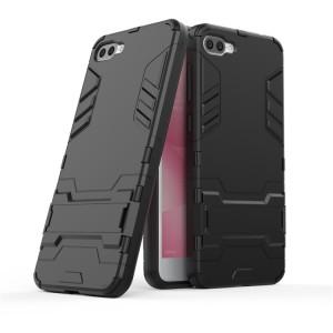 Противоударный двухкомпонентный силиконовый матовый непрозрачный чехол с поликарбонатными вставками экстрим защиты с встроенной ножкой-подставкой для ASUS ZenFone 4 Max ZC520KL  Черный