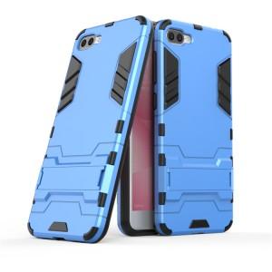 Противоударный двухкомпонентный силиконовый матовый непрозрачный чехол с поликарбонатными вставками экстрим защиты с встроенной ножкой-подставкой для ASUS ZenFone 4 Max ZC520KL  Синий