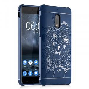 Силиконовый матовый непрозрачный дизайнерский фигурный чехол с текстурным покрытием Дракон для Nokia 3