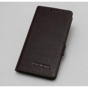 Кожаный чехол горизонтальная книжка подставка с крепежной застежкой для Nokia 3