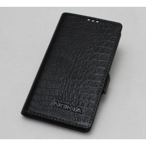 Кожаный чехол горизонтальная книжка текстура Крокодил с крепежной застежкой для Nokia 3