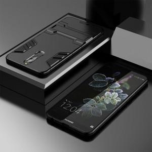 Противоударный двухкомпонентный силиконовый матовый непрозрачный чехол с поликарбонатными вставками экстрим защиты с встроенной ножкой-подставкой для Huawei Nova 2i  Черный