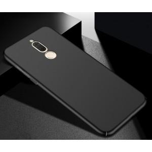 Пластиковый непрозрачный матовый чехол с допзащитой торцов для Huawei Nova 2i Черный