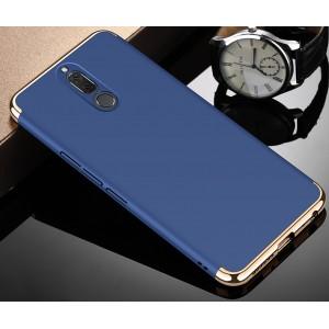 Двухкомпонентный пластиковый непрозрачный матовый чехол сборного типа с допзащитой торцов для Huawei Nova 2i Синий