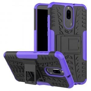Противоударный двухкомпонентный силиконовый матовый непрозрачный чехол с нескользящими гранями и поликарбонатными вставками экстрим защиты с встроенной ножкой-подставкой для Huawei Nova 2i  Фиолетовый