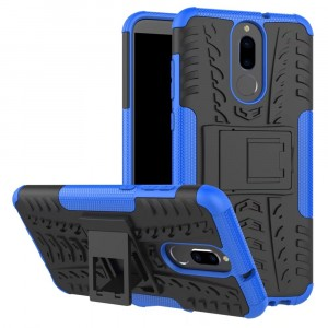 Противоударный двухкомпонентный силиконовый матовый непрозрачный чехол с нескользящими гранями и поликарбонатными вставками экстрим защиты с встроенной ножкой-подставкой для Huawei Nova 2i  Синий