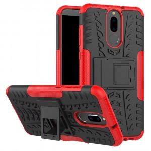 Противоударный двухкомпонентный силиконовый матовый непрозрачный чехол с нескользящими гранями и поликарбонатными вставками экстрим защиты с встроенной ножкой-подставкой для Huawei Nova 2i  Красный