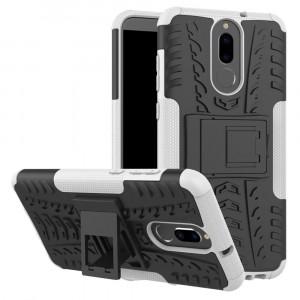Противоударный двухкомпонентный силиконовый матовый непрозрачный чехол с нескользящими гранями и поликарбонатными вставками экстрим защиты с встроенной ножкой-подставкой для Huawei Nova 2i  Белый