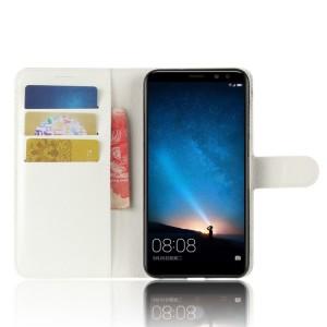 Чехол портмоне подставка на силиконовой основе с отсеком для карт на магнитной защелке для Huawei Nova 2i  Белый