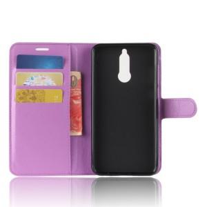 Чехол портмоне подставка на силиконовой основе с отсеком для карт на магнитной защелке для Huawei Nova 2i  Фиолетовый
