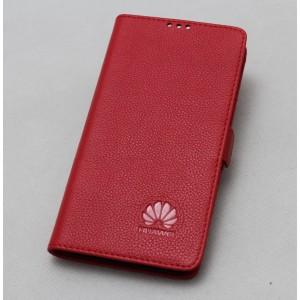 Кожаный чехол горизонтальная книжка подставка с крепежной застежкой для Huawei Nova 2i  Красный