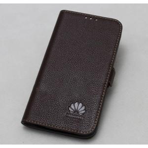Кожаный чехол горизонтальная книжка подставка с крепежной застежкой для Huawei Nova 2i  Коричневый