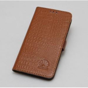 Кожаный чехол горизонтальная книжка подставка текстура Крокодил с крепежной застежкой для Huawei Nova 2i  Бежевый