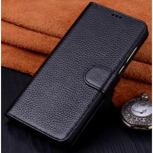 Кожаный чехол портмоне (премиум нат. кожа) с крепежной застежкой для Huawei Nova 2i Черный