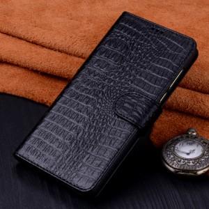 Кожаный чехол портмоне (премиум нат. кожа крокодила) с крепежной застежкой для Huawei Nova 2i Черный