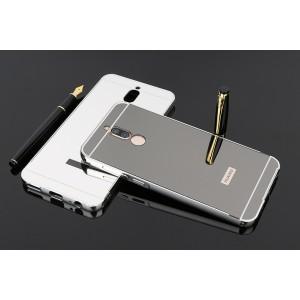 Двухкомпонентный чехол c металлическим бампером с поликарбонатной накладкой и зеркальным покрытием для Huawei Nova 2i  Черный