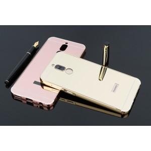 Двухкомпонентный чехол c металлическим бампером с поликарбонатной накладкой и зеркальным покрытием для Huawei Nova 2i  Бежевый