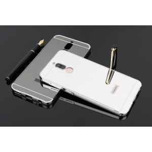 Двухкомпонентный чехол c металлическим бампером с поликарбонатной накладкой и зеркальным покрытием для Huawei Nova 2i  Белый