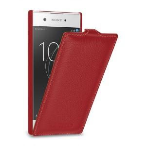 Кожаный чехол вертикальная книжка (премиум нат. кожа) для Sony Xperia XA1