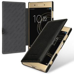 Кожаный чехол горизонтальная книжка (премиум нат. кожа) с крепежной застежкой для Sony Xperia XA1