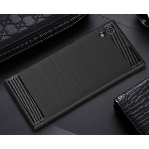 Силиконовый матовый непрозрачный чехол с нескользящими гранями и текстурным покрытием Металлик для Sony Xperia XA1  Черный