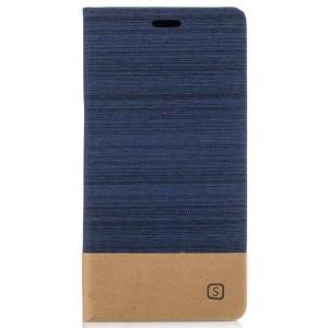 Чехол горизонтальная книжка подставка на силиконовой основе с отсеком для карт и тканевым покрытием для Sony Xperia XA1 Синий