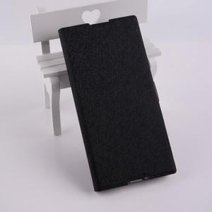 Чехол портмоне подставка текстура Золото на силиконовой основе на магнитной защелке для Sony Xperia XA1  Черный